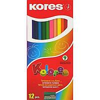 Карандаши цветные Kores K93312 грифель 3мм 12 цветов трехгранные +точилка