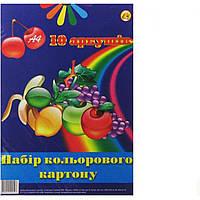 Картон цветной А4 10 листов Тетрада