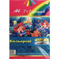 Картон цветной+бумага цветная А4 7+7 листов Тетрада