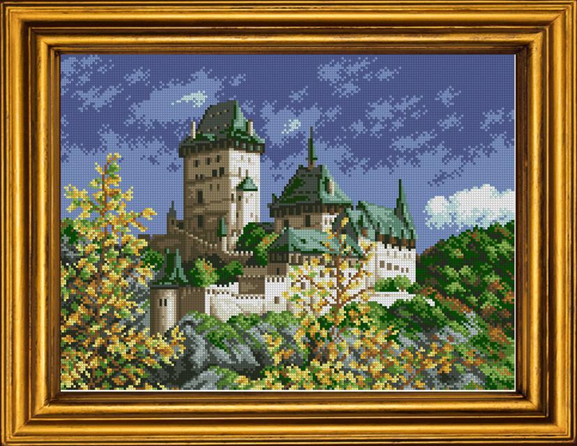 Схема для вышивки бисером на холсте Осенний замок