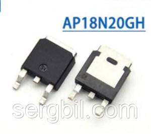 Транзистор полевой AP18N20GH - ТО252 FET N-channel 200V, 18A