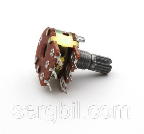 WH148 Резистор переменный линейный 1к, вал 15мм сдвоенный