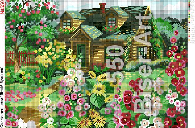 Схема для вышивки бисером на габардине Летний домик
