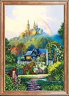 Схема для вышивки бисером на габардине Радуга и замок