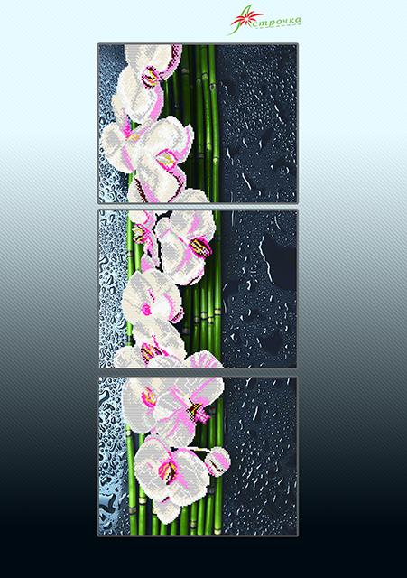 Схема для вышивки бисером на атласе Ванильный каскад (триптих)