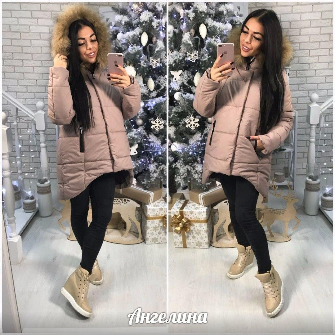 Женская зимняя куртка с капюшоном и меховой опушкой 370146
