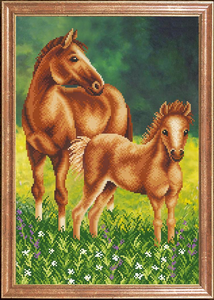 Лошадь с жеребенком схема вышивки фото 170