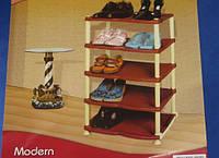 Пластиковая тумбочка для обуви на пять полок