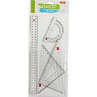 Набор геометрический 1 Вересня 370258 (линейка 30см, 2 треугольника, транспортир)