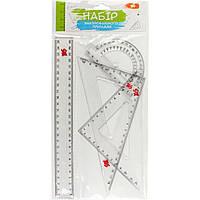 Набор геометрический 1 Вересня 370261 (линейка 25см, 2 треугольника, транспортир)