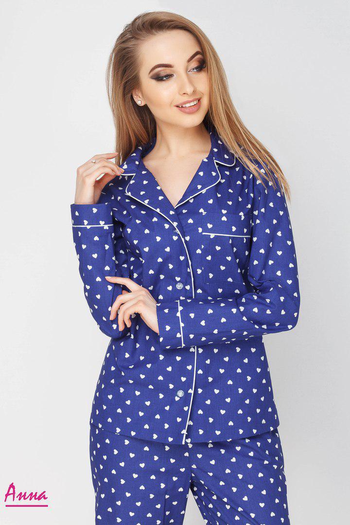 Женская пижама из хлопка со штанами в расцветках 641936