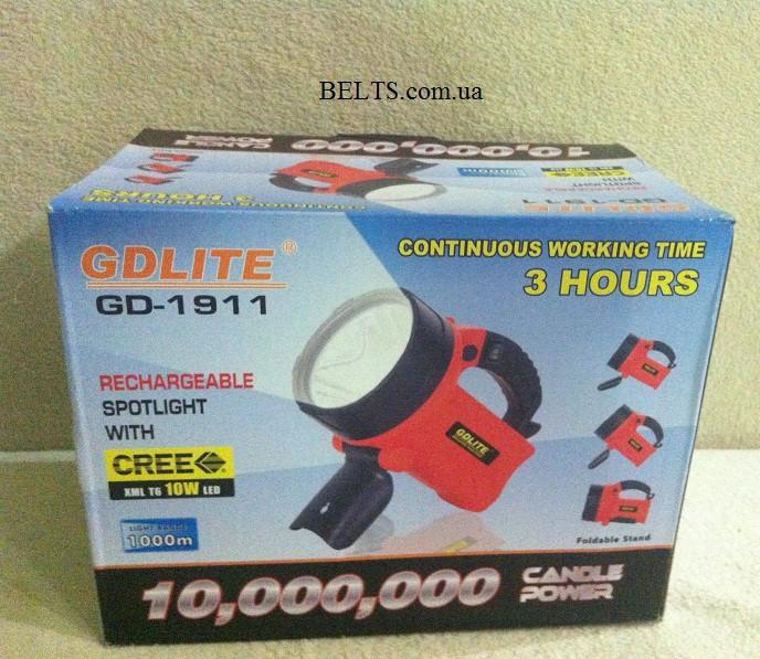 Ліхтар прожектор GDlite GD-1911, супер яскравий ліхтар з акумулятором GD - 1911