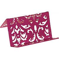Подставка для визиток металлическая Buromax Barocco 6226-10 100х97х47мм розовая