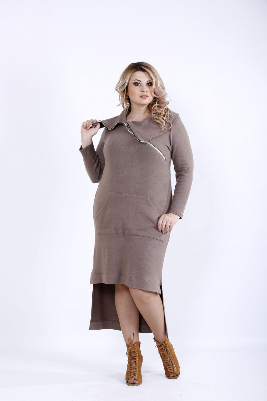 Бежевое асимметричное платье из ангоры   0884-2