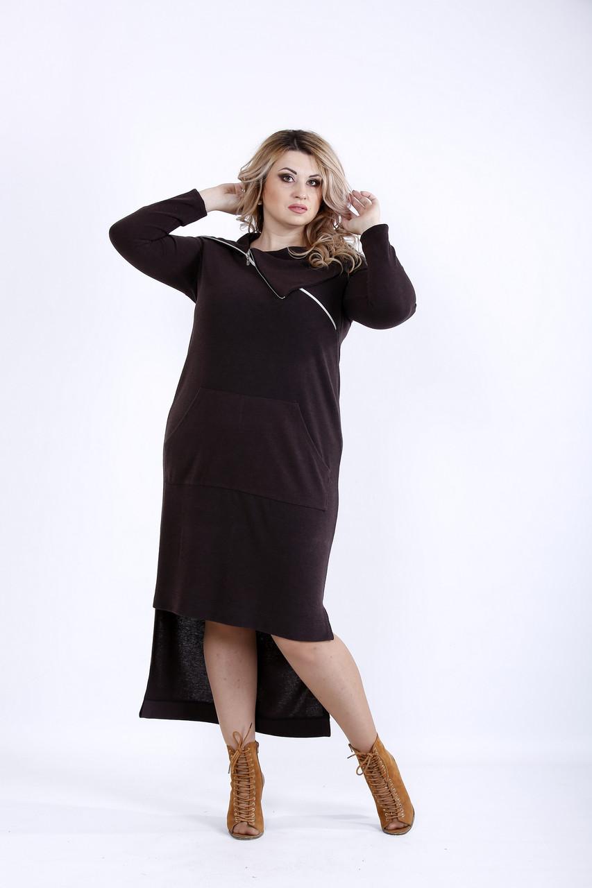 Красивое шоколадное платье с карманами | 0884-3