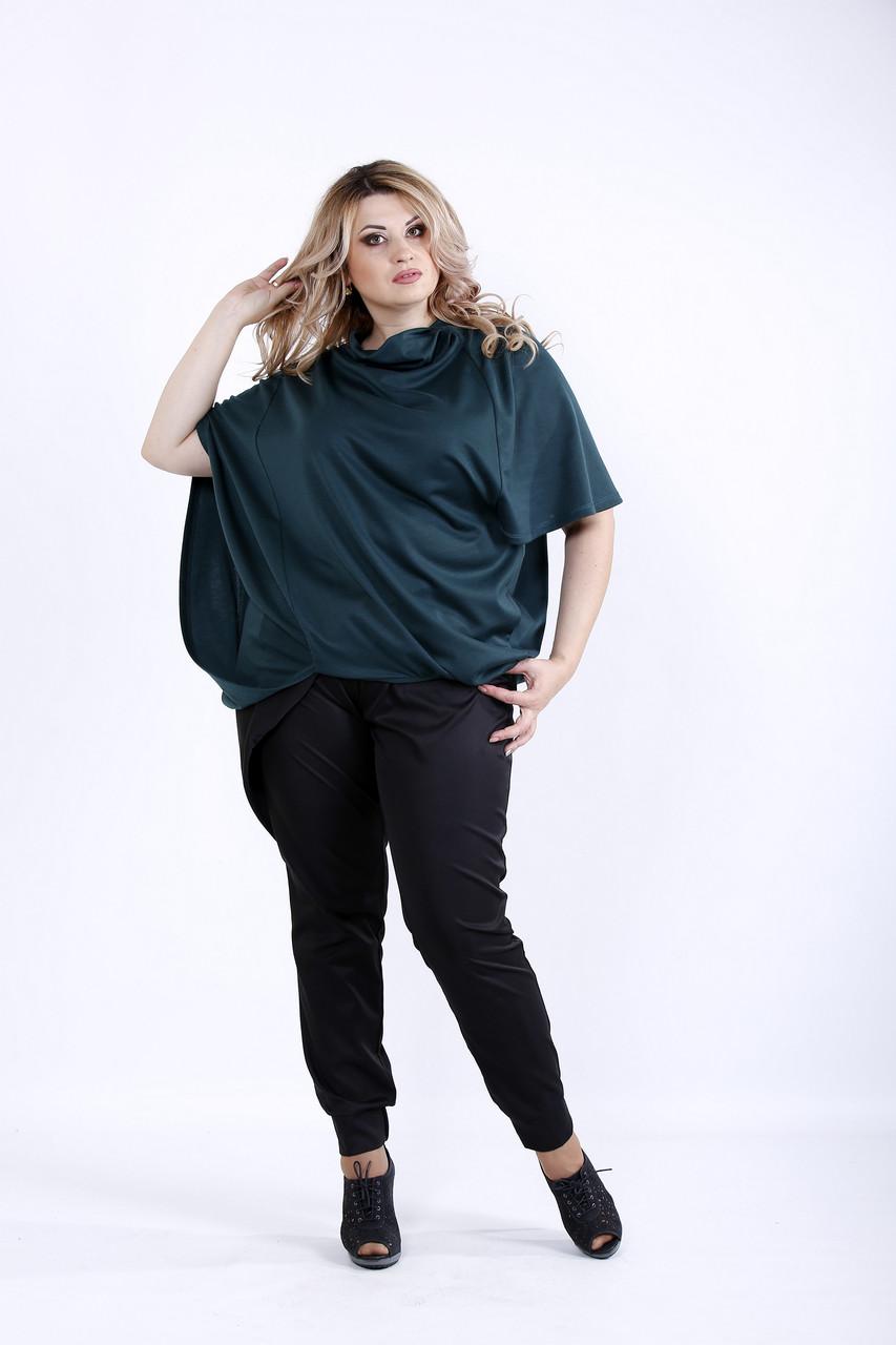 Свободная зленая блузка из трикотажа | 0889-2