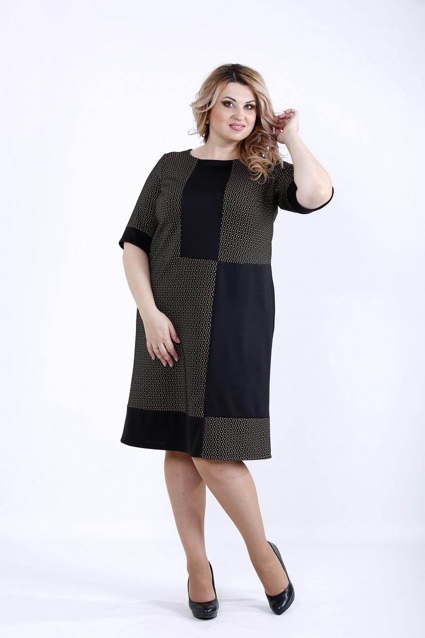 Комбинированное темное платье | 0890-1
