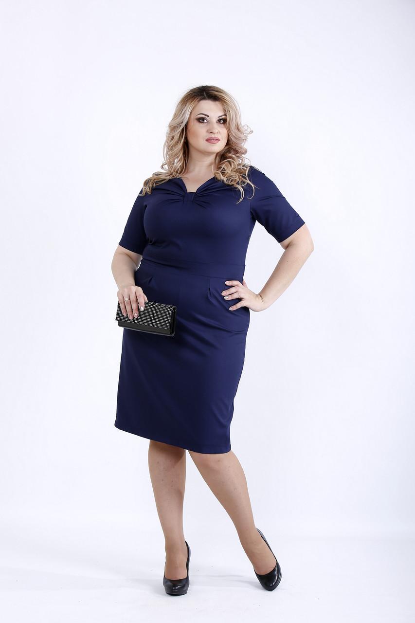 Простое и нарядное синее платье | 0895-2
