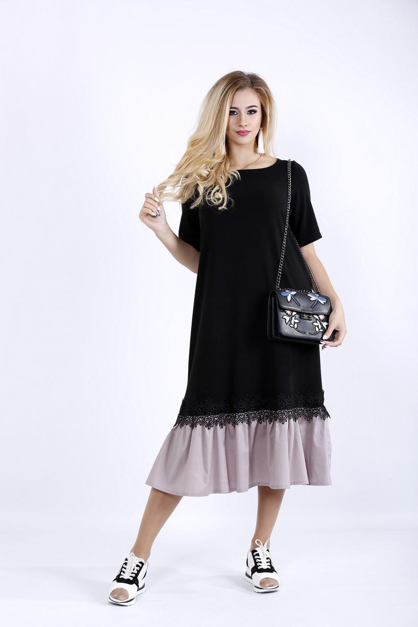 Черное платье ниже колена   0898-1