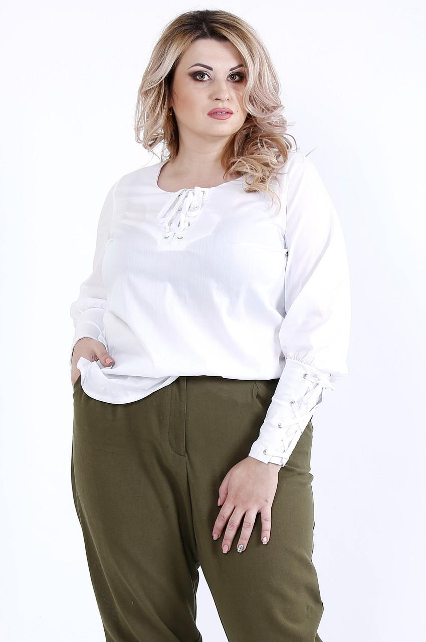 Белая удобная блузка из поплина  | 0899-1