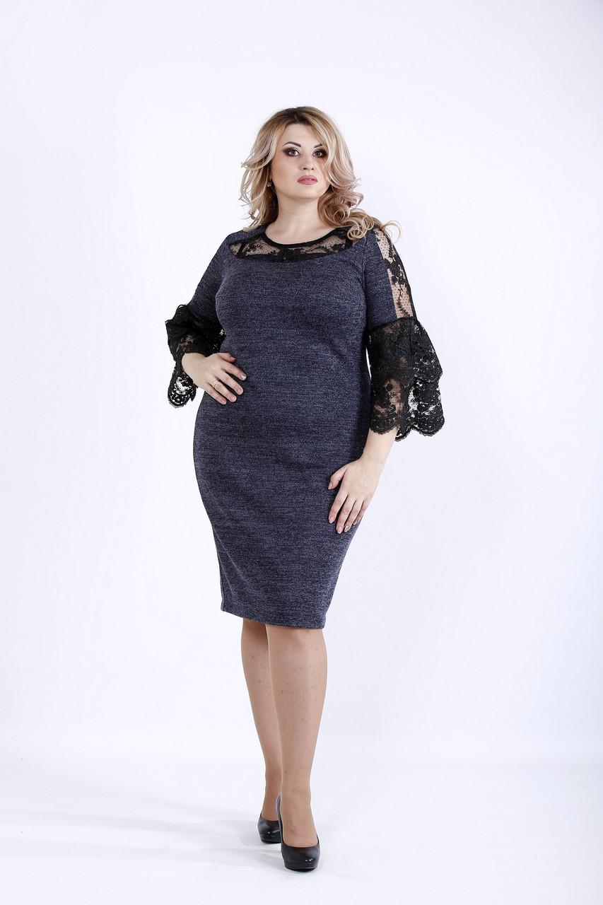 Синее нарядное платье с гипюром | 0901-1
