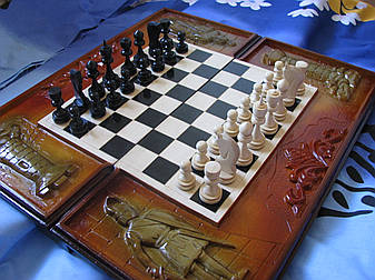 Шахматы - нарды резные ручной работы, фото 2