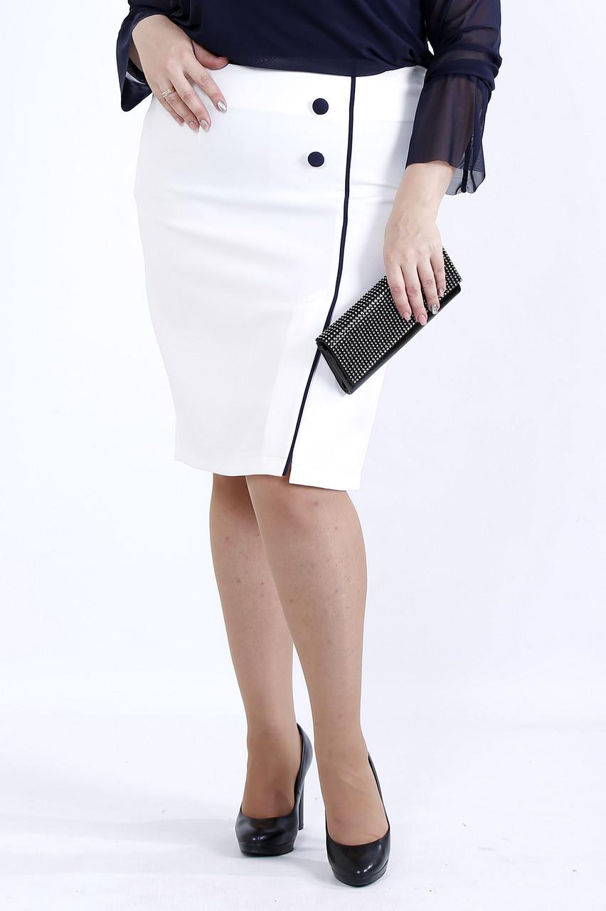 Молочная юбка с синим кантом | 0902-3