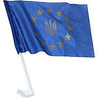 Флаг Украина-Евросоюз для автомобиля 24х37см с креплением на стекло
