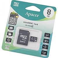 Карта памяти 8Gb Micro-SDHC Apacer (adapter) class4