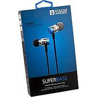 Наушники вакуумные металлические Yison EX900 (гарнитура) blue и mic