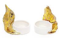 Подсвечник фарфоровый Золотое перо 8.5см, 2 вида, набор 6 шт