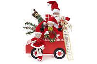 Новогодняя композиция Санта на машинке 48см, цвет - красный