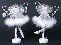 Новогоднее украшение из ткани и пуха Ангел на подставке 20см, 2 вида, набор 6 шт