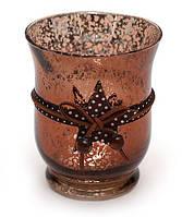 Подсвечник стеклянный 10.9см античная медь с декором, набор 6 шт