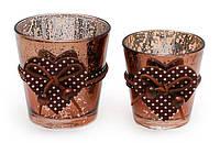 Подсвечник стеклянный 6.5см античная медь с декором, набор 6 шт, фото 1