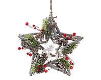 Декор подвесной Звезда с хвоей и ягодами, набор 6 шт