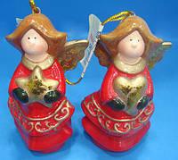 Елочное украшение Ангел 7.6см, 2 вида, набор 12 шт