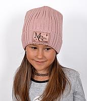 Блестящая шапка Мистик.Зима.р.53-57 (от 6 лет) детская/женская. Пудра, пыльная роза,св.серый, фото 1