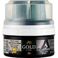 Крем-блеск для обуви GoldCare с губкой черный 200мл банка 1005 (48)