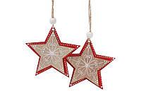 Набор (2шт) новогодних украшений Звезда 8см, набор 12 шт, фото 1