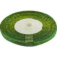 Лента атласная (парча) 0,5см/21м зеленая