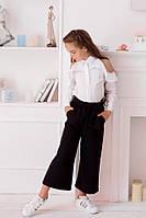 Школьная форма расклешенные свободные брюки кюлоты с карманами и поясом на девочку чёрные 128 134 140 146 152, фото 1