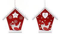 """Набор (2шт) новогодних украшений """"Дом птички"""" подвеска елочная, 8см, 2 вида, набор 24 шт"""