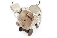 Шкатулка Свинка на колесах, 19см