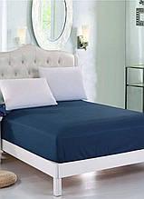 Простынь на резинке Eponj Home Pratik k.mavi синий 160*200 двухспальная евро размер