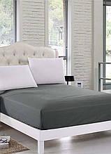 Простынь на резинке Eponj Home Pratik vizon серый 160*200 двухспальная евро размер