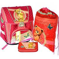 """Набор Premium-C: Ранец каркасный 2 отделения, 2 кармана , сумка для обуви,  пенал плоский """"Мишка"""" №7480 / 1002887"""