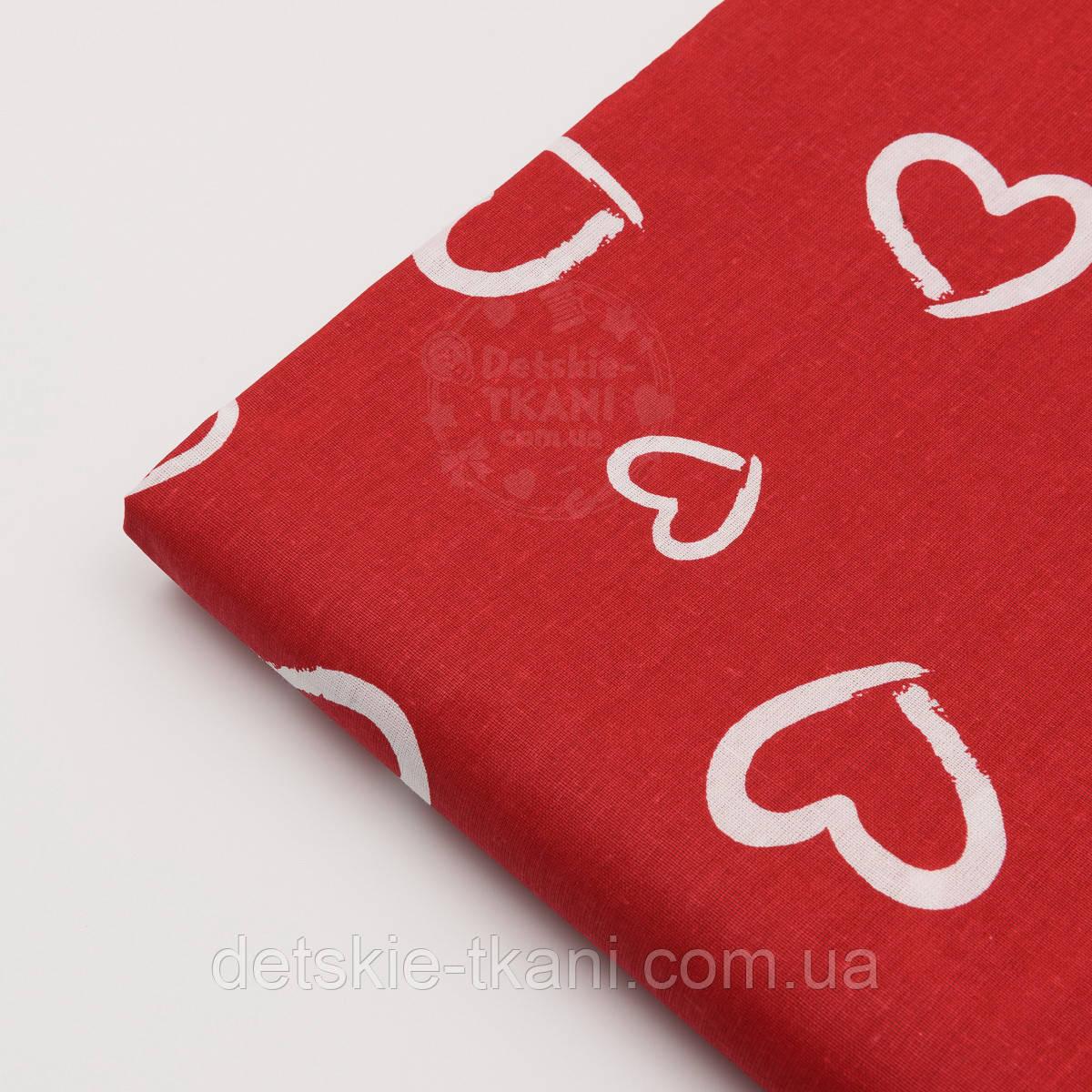 Лоскут ткани №176  красного  цвета с изображением сердечек-валентинок белого цвета, размер 19*160 см