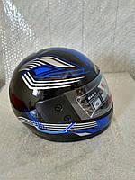 Шлем для скутера  черный глянцевый с сине-серыми узорами F2, размер S(55-56)