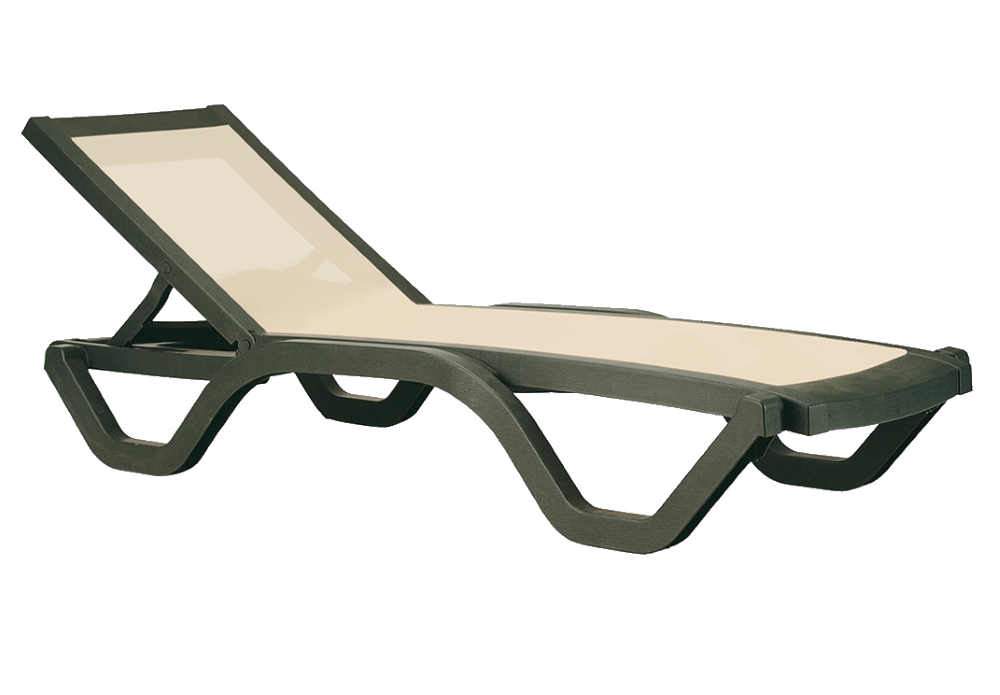 Шезлонг лежак Papatya Myra Tex темно-зеленый, сетка бежевая